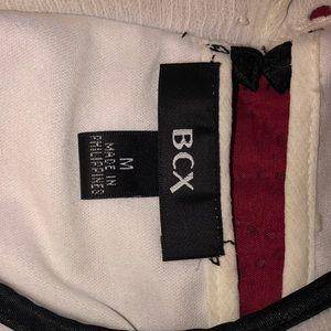 BCX Tops - BCX White Tank w/Black Trim&Rosette Jeweled Detail